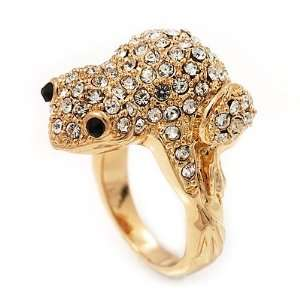 Swarovski Crystal Frog Ring In Gold Plated Metal   Size