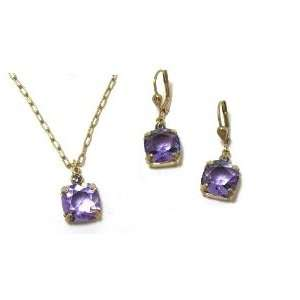 Tanzanite Swarovski Crystal Necklace and Matching Drop Earrings