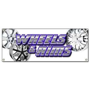 RIMS BANNER SIGN chrome rim wheel tires signs Patio, Lawn & Garden