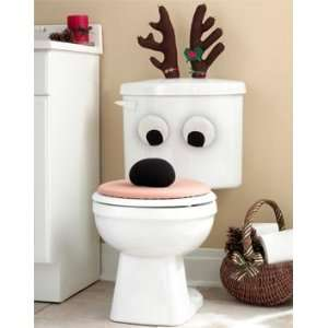 Christmas Holiday Reindeer Bathroom Toilet Seat Set Lid Antlers Eyes
