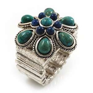 Turquoise Style Flower Stretch Ring (Antique Silver) Jewelry