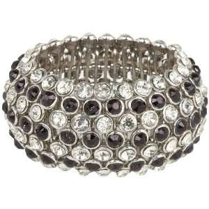 Row Domed Black and Crystal Silver Tone Stretch Bracelet Jewelry