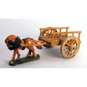 28mm Historicals Wagons Ho Flat Cart Wooden Rails with Spoked Wheels