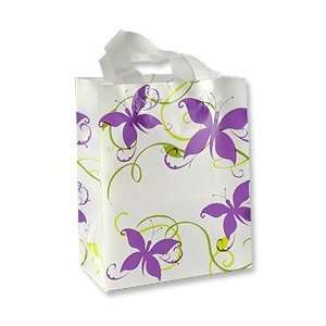 Gift Bag   Frosted White Large Vines and Butterflies Jewelry