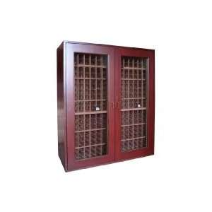 Cherry Wood Wine Cabinet With Glass Doors Home & Kitchen
