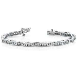 Ladies 3CT White Gold Diamond Tennis Bracelet SUNSET