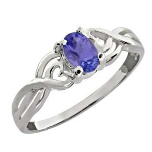 0.45 Ct Oval Blue Tanzanite Sterling Silver Ring Jewelry