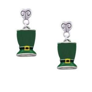 Patricks Day Hat   Silver Plated Mini Heart Charm Earrings [Jewelry