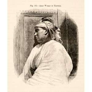 1893 Wood Engraving Arab Woman Tangier Portrait Costume