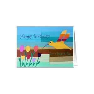 Happy Birthday for Special Boy, Flowers and Bird Art Collage Card