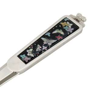 of Pearl Butterfly Design Black Metal Steel Knife Office Sword Blade