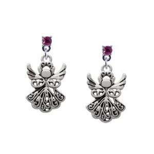 Silver Angel Hot Pink Swarovski Post Charm Earrings Arts