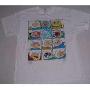 Mens CN Cartoon Network Adventure Time Show Finn Faces NEW T Shirt