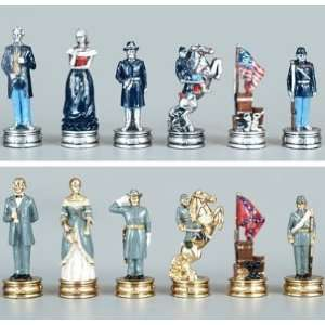 Civil War Chess Set, King3 1/4   Chess Chessmen Sports & Outdoors