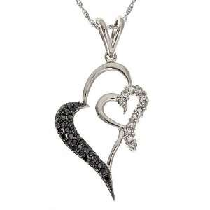 10k White Cold White and Black Diamond Heart Pendant