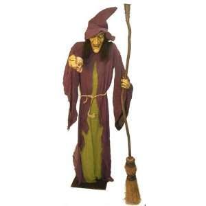 Six Foot Talking Head Shrinker Witch Prop with Light Up
