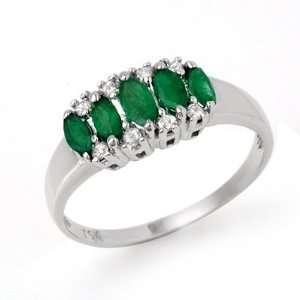 Genuine 0.77 ctw Emerald & Diamond Ring 10K White Gold