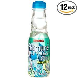 Ramune MELON SOFT DRINK FROM JAPAN , 6.76 Ounce Glass Bottle (Pack of