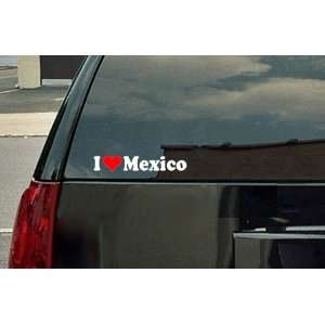 I Love Mexico Vinyl Decal   White with a red heart