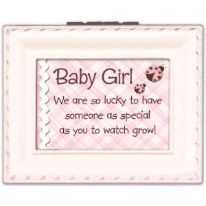 Baby Girl Cottage Garden Pink Tiny Square Treasure Box