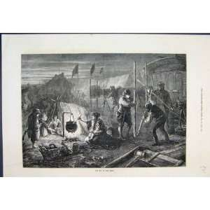 1871 Night Scene Derby Children Camp Fire Old Print  Home