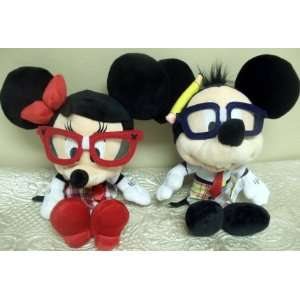 12 School Nerd Mickey and Minnie Mouse Plush Dolls Toys & Games