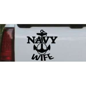 Navy Wife Military Car Window Wall Laptop Decal Sticker    Black 8in X