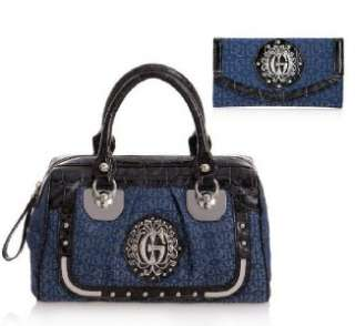 NEW GUESS BLUE FOLKLORE BOX BOWLER HANDBAG & WALLET SET