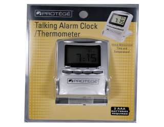Protege Travel Talking Alarm Clock Thermometer W Stand