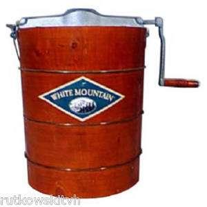 Quart Wooden Bucket Manual Hand Crank Ice Cream Maker |
