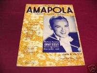 1940 AMAPOLA JIMMY DORSEY JOSEPH LACALLE SHEET MUSIC