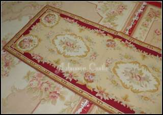 X8 RUNNER Needlepoint Rug PINK ROSE French Aubusson pattern