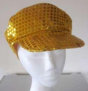 QUALITY 70S DISCO DIVA SEQUIN BAKER BOY CAP HAT COSTUME