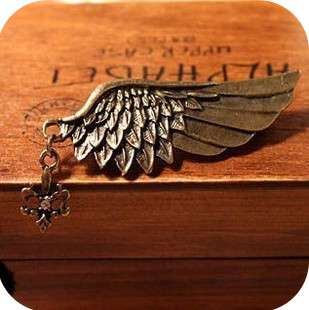 Unisex Retro Angel wings Pins Brooches DIY bronze golden color anchor