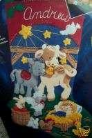 Bucilla Felt Applique Stocking Kit,AWAY IN A MANGER,Baby Jesus,Animals