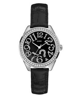 GUESS Watch, Womens Black Leather Strap G76030L   Jewelry & Watches