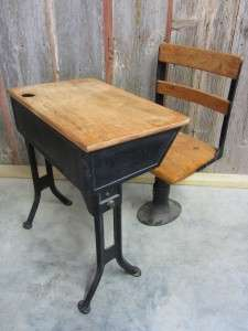 Wooden School Desk And Chair Throughout Vintage Iron u0026 Wooden School Desk Chair Antique Table Stand Old 1920s 30s