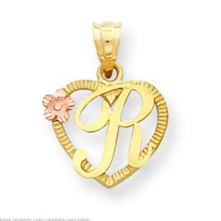 14K Two Tone Gold Initial Letter R Heart Charm Jewelry