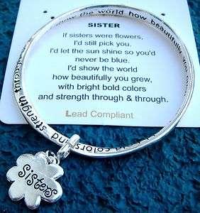 Sisters Are Like Flowers Poem Written on Bangle Bracelet with Flower