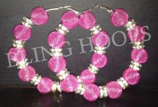 NEW Bling Hoops Rhinestone Earrings Basketball Wives Poparazzi Pink