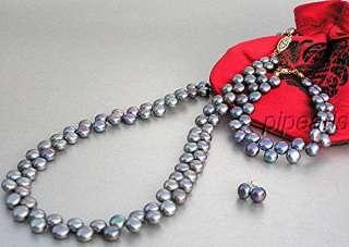 AA 14K 2 Row Black Pearl Necklace Bracelet Earrings Set
