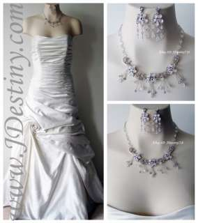 Wedding Bridal Crystal Necklace Earrings Set Prom A217