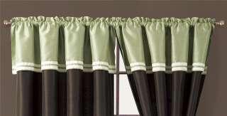 8PC Borwn/Green Faux Silk Curtain Set   Catalina