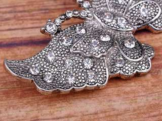 Silver Tone Metal Carved Crystal Rhinestone Butterfly Pin Brooch