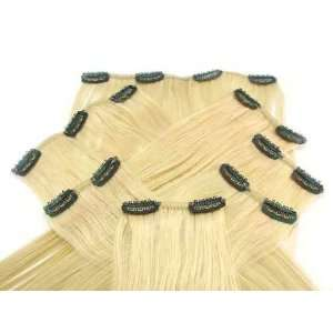 19 Clip In On 100% Human Hair Extension # 24 Light Blonde Beauty
