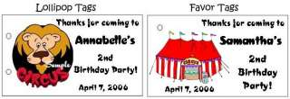 10 CIRCUS Carnival BIRTHDAY Party Lollipop suckers Tags
