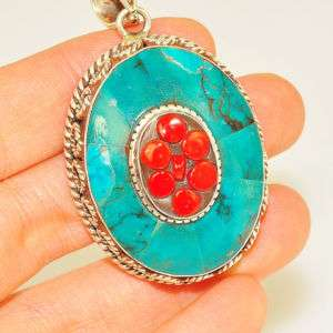 Sterling Silver TURQUOISE RED CORAL Oval Pendant