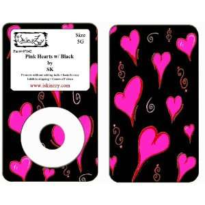 Pink Heart Black Ipod Classic 5G Skin Cover