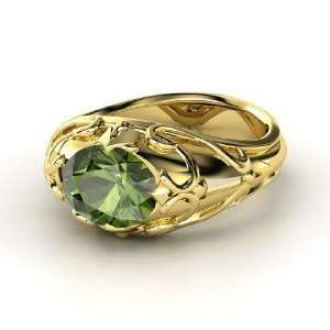 Hearts Crown Ring, Oval Green Tourmaline 14K Yellow Gold Ring Jewelry