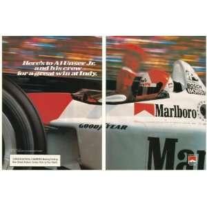 1994 Al Unser Jr Indy Race Car Marlboro 2 Page Print Ad